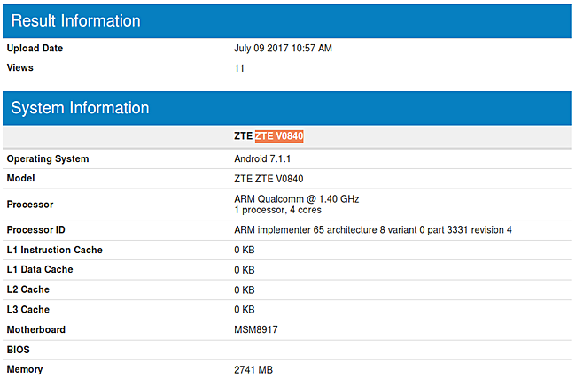 Бюджетный ZTE V0840 с двойной камерой засветился в бенчмарке
