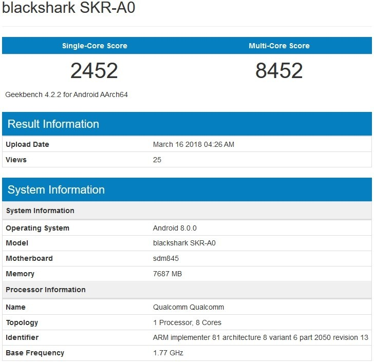 Xiaomi Blackshark Geekbench