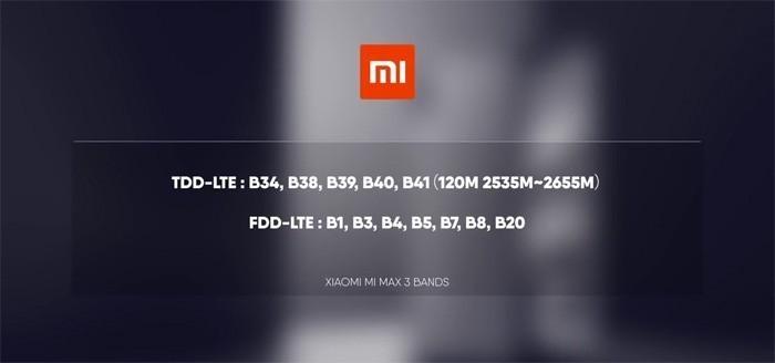 Частоты 4G Xiaomi Mi Max 3